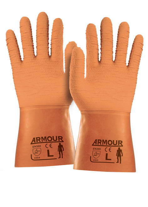 Armour Safety Products Ltd. - Armour Orange Crinkle Latex Gauntlet – 30cm