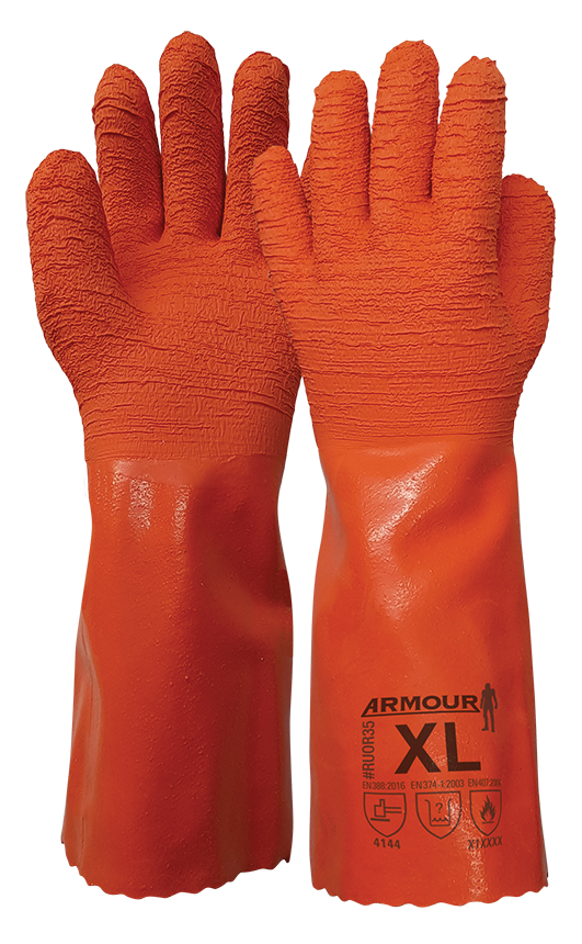 Armour Safety Products Ltd. - Armour Orange Crinkle Latex Gauntlet – 35cm